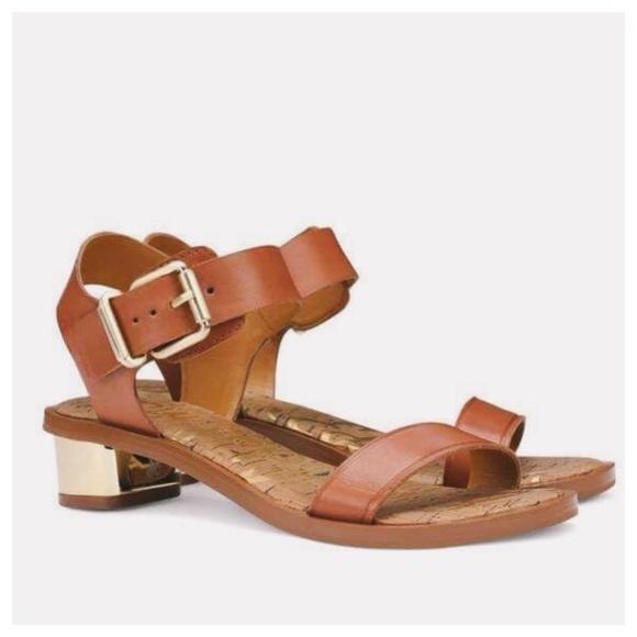 1b4ba6f5cf81e8 Sam Edelman Trixie Cognac Leather Heeled Sandals. M 5ba31c9b8158b59fe8125e1f
